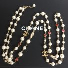 CHANEL Vintage CC PEARL Necklace Gold Chain Twist Red Pink Crystal NIB