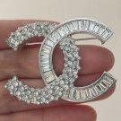 CHANEL Silver Crystal Baguette Asymmetric Fashion Brooch Pin Authentic NIB