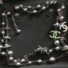 Chanel Multi Color CC Crystal Black Pearl Ruthenium Chain Necklace Long NIB