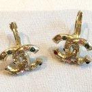 CHANEL Byzantine Gold Earrings Multi Color Rhinestone  Lever Back NIB