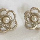 CHANEL Camellia CC Stud Pearl Crystal Earrings Gold Metal Flower NIB