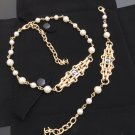 CHANEL Vintage CC PEARL Necklace & Bracelet Set Gold Metal Medal NIB