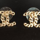 CHANEL CC Small Gold Chain Stud Earrings Classic Authentic Hallmark NIB