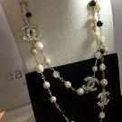 Chanel 3 Crystal CC Fantasy Pearl Black White Gold Chain Necklace Long NIB