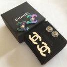 Chanel Classic Turnlock Stud Earrings Iridescent/Gold CC 2-in-1 RARE NIB