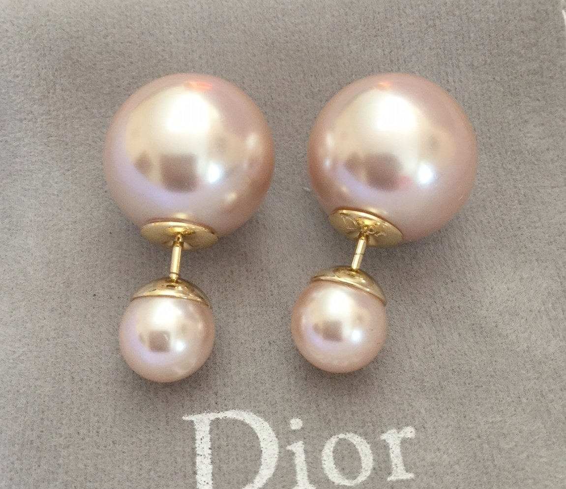 DIOR TRIBALE Tribal Earrings PINK Rose Pearl Classic Timeless Hallmark NIB