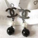 CHANEL Black CC Pearl Dangle Earrings Simplicity Classic Hallmark Authentic NIB