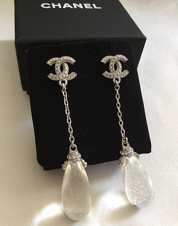 CHANEL Crystal Stud CC Glass Water Drop Dangle Earrings Silver Chain NIB