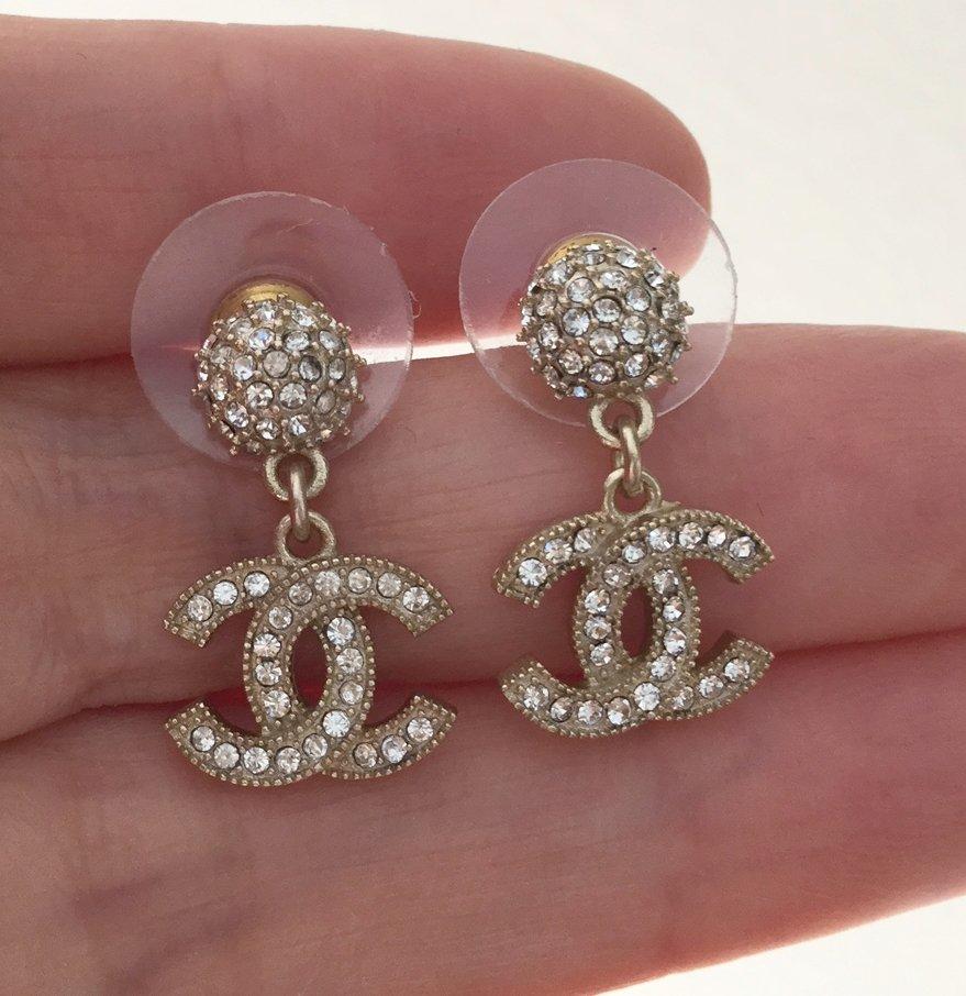 CHANEL Gold Crystal Ball Stud CC Dangle Earrings Elegant Dainty NIB