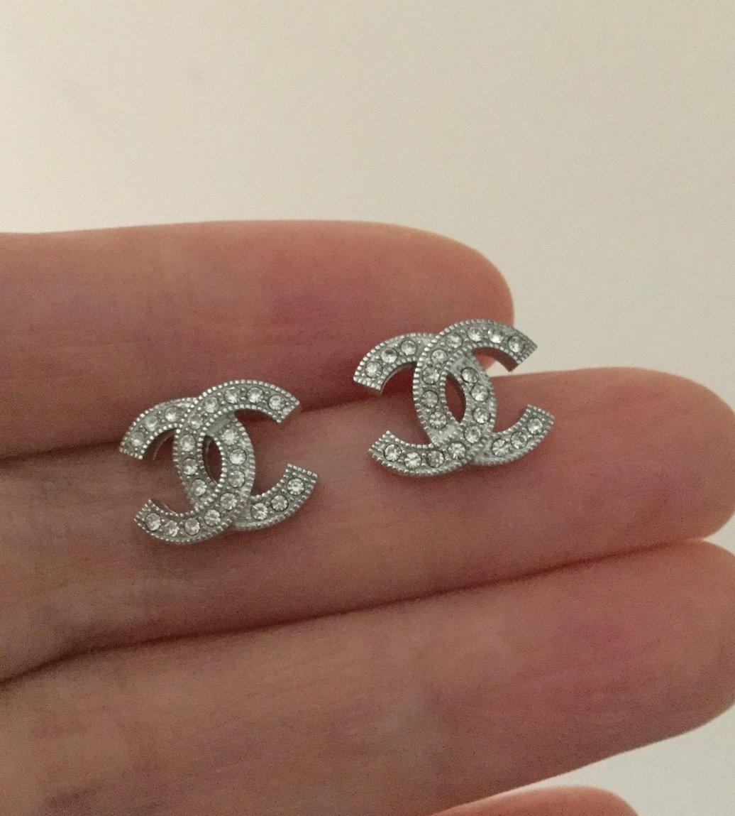 CHANEL Silver CC Mini Crystal Stud Earrings Timeless Classic Authentic NIB