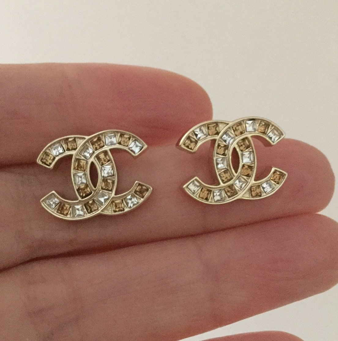 CHANEL CC Gold Stud Earrings Pale Orange Square Crystal Authentic NIB