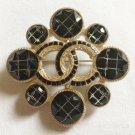 CHANEL Black Crystal Rhombus CC Gold Metal Brooch Pin 2018 NIB