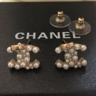 CHANEL Gold CC Stud Earrings Seed Pearl Tiny Bow Small Authentic NIB