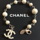 CHANEL Silver Metal CC Pearl Charm Bracelet Timeless Classic