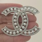 CHANEL Pearl CC Crystal Rim Silver Metal Brooch Pin Classic Style 2018 NIB