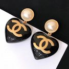 CHANEL Black Resin HEART Dangle Earrings CC Pearl Clip Gold Retro NIB