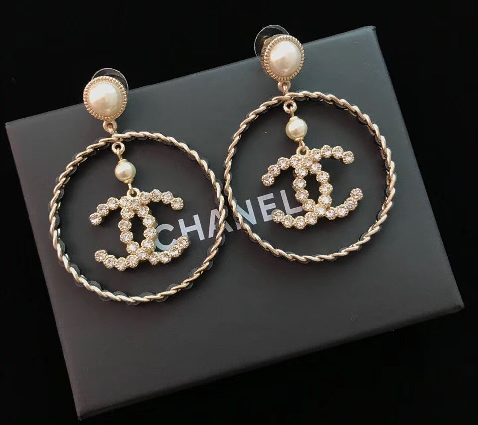 CHANEL Black Leather Gold Metal Big Hoop Earrings Crystal CC Pearl Stud NIB