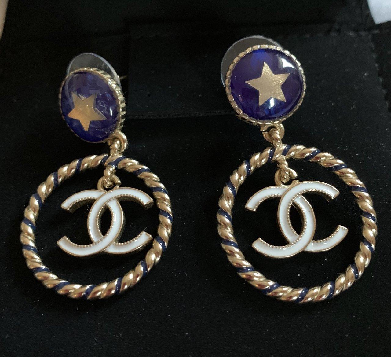 CHANEL Blue Enamel Star Stud Gold Hoop White CC Dangle Drop Earrings NIB