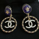 CHANEL Blue Enamel Star Stud Gold Hoop White CC Dangle Drop Earrings NIB