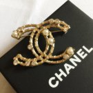CHANEL Crystal Pearl Brooch Pin Gold Metal Hollow Style Authentic NIB