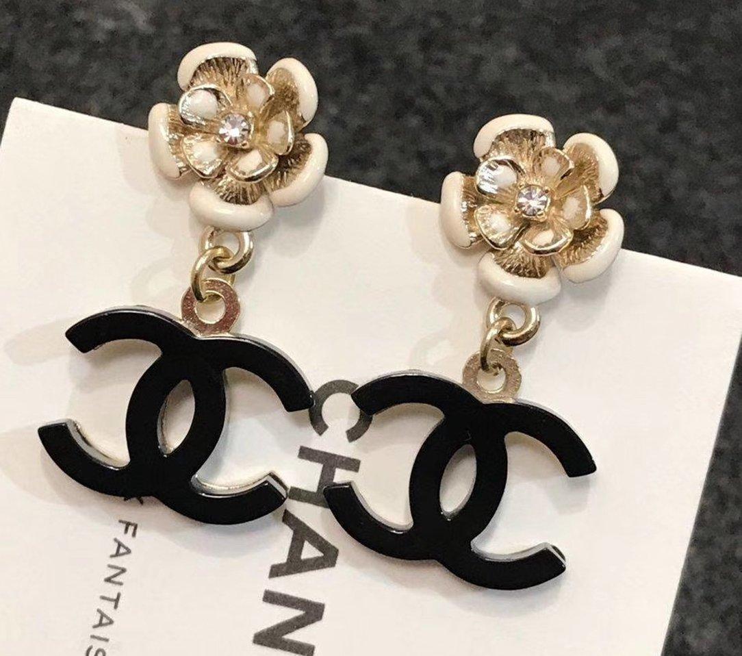CHANEL White Camellia Crystal Stud Black CC Drop Dangle Earrings NIB