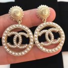 CHANEL CC Pearl Hoop GOLD Dangle Drop Earrings Pierced Stud NIB