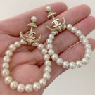 CHANEL CC Gold Crystal Anchor Pearl Hoop Dangle Pierced Earrings NIB