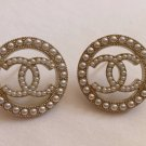 CHANEL Gold CC Seed Pearl Circle Medium Stud Earrings NIB