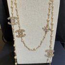 "CHANEL Pearl Crystal CC Necklace 60"" Long Strand Gold Chain 2019 NIB"