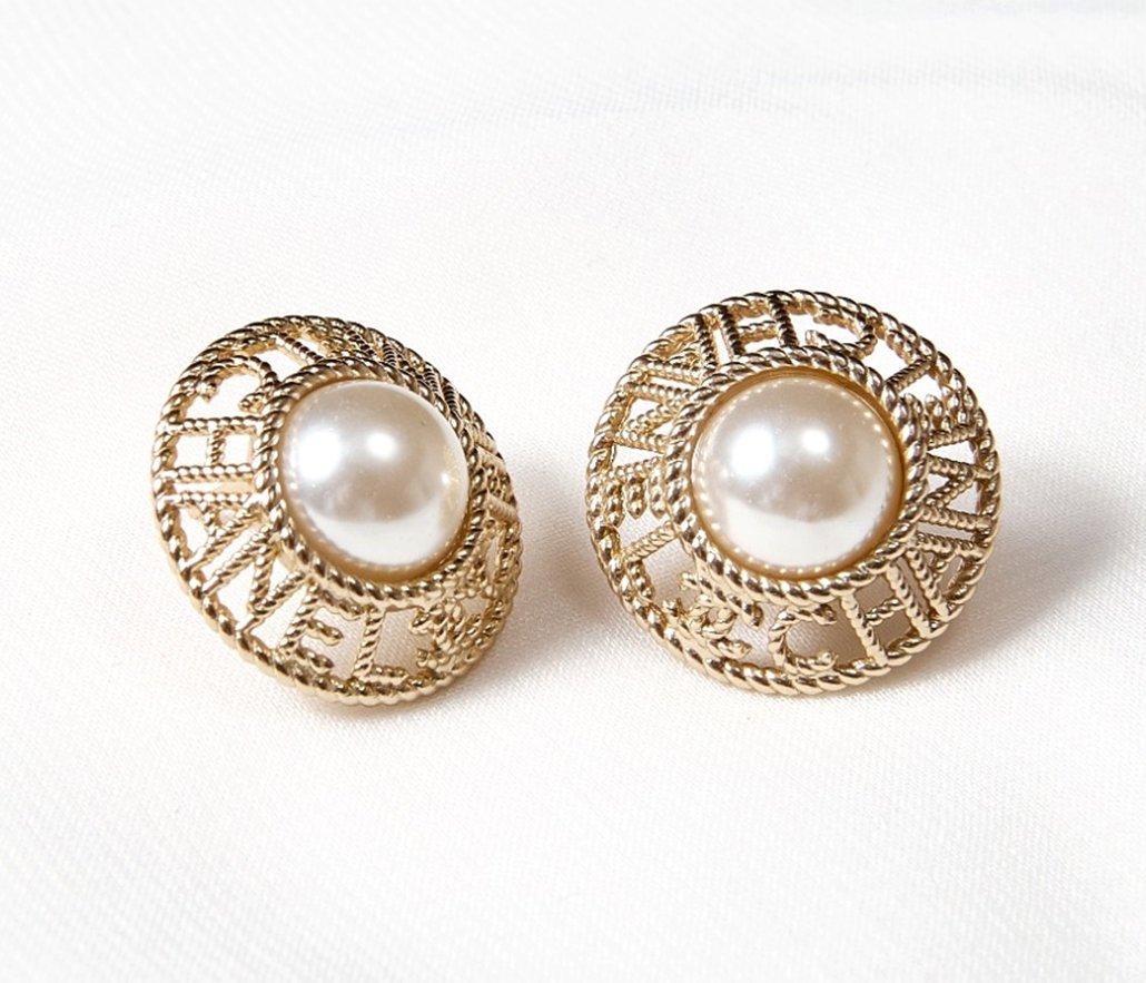 CHANEL CC Letter Big Pearl Gold Metal Classic Pierced Earrings 2019 NIB