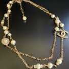 CHANEL CC Crystal Pearl Necklace Double Roll Gold Chain 2019 NIB