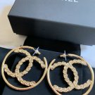 CHANEL CC Gold Crystal Big Hoop Earrings 2019 Fashion Statement NIB