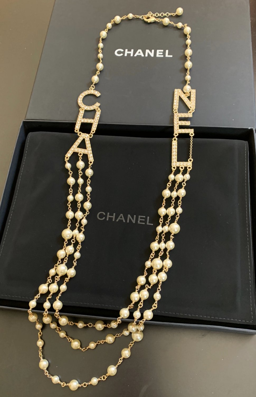CHANEL Crystal Letters Runway 2019 Pearl Necklace Gold Multi Strand NIB