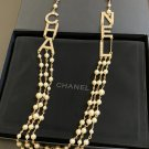 CHANEL Runway 2019 Pearl Necklace Gold Crystal Letters Multi Strand NIB