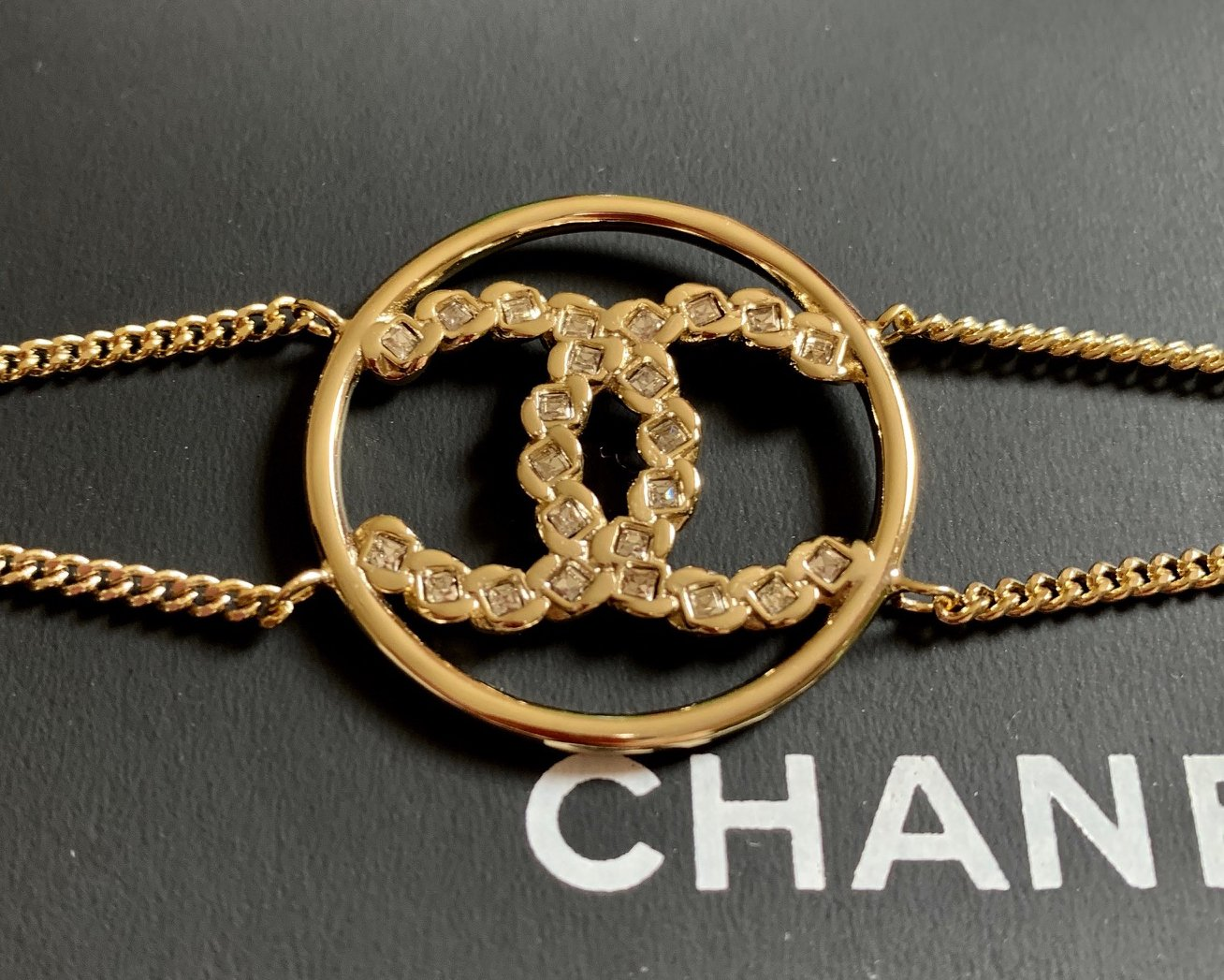 CHANEL CC Princess Cut Crystal Bracelet Gold Medal Chain Authentic NIB