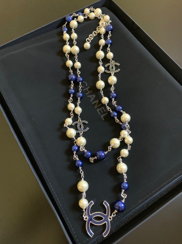 "CHANEL 3 CC Blue Glass Bead Pearl Necklace Silver Chain Classic 47"" NIB"