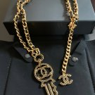 CHANEL CC Black Crystal Key Pendant Necklace Leather Gold Chain 2017 NIB