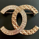CHANEL CC Crystal Baguette Patterned Gold Metal Brooch Pin 2018 NIB