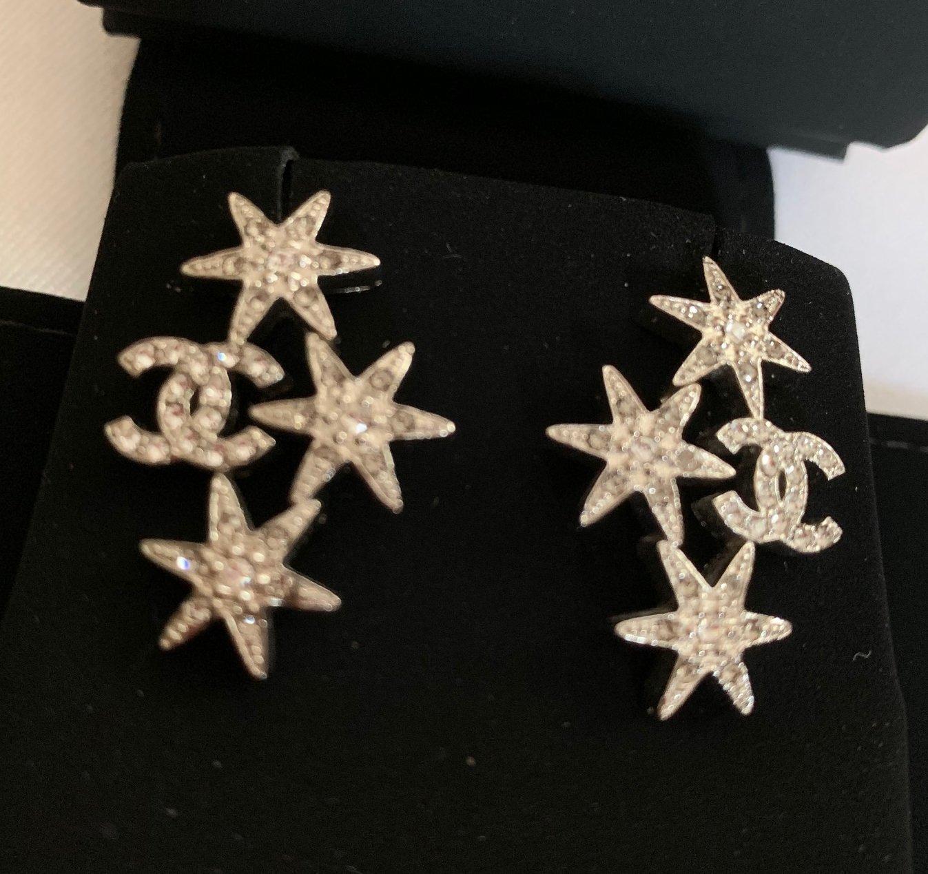 CHANEL CC CRYSTAL STAR Silver Stars Stud Earrings Hallmark Authentic NIB