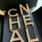 CHANEL Gold Crystal Letters 2019 RUNWAY Statement Dangle Earrings NIB