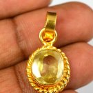 13.20 Ct. Certified Oval Natural Yellow sapphire Gemstone Gold Plated Pendant