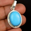 23.15 Ct Natural Oval Turquoise Gemstone Sterling Silver Pendant Christmas Sale