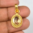 10.80 Ct. Certified Oval Natural Yellow sapphire Gemstone Gold Plated Pendant