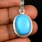 21.60 Ct Natural Oval Turquoise Gemstone Sterling Silver Pendant Christmas Sale