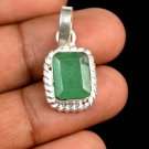 7.85 Ct Natural Emerald Cut Emerald Gemstone Sterling Silver Pendant Xmas Gift