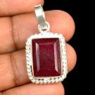 15.90 Ct Natural Emerald Cut Red Ruby Gemstone Sterling Silver Pendant Xmas Gift