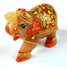 908 Ct Gold Art Work Home Decorative Rose Quartz Gemstone Elephant Figurine
