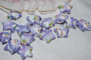 Lamb and rainbow patterned purple stars