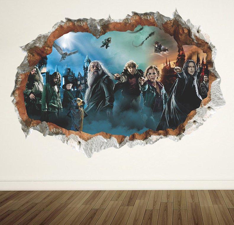 3D Wall Stickers Harry Potter Hogwarts Wizarding World School Staticker Kids Room Decoration