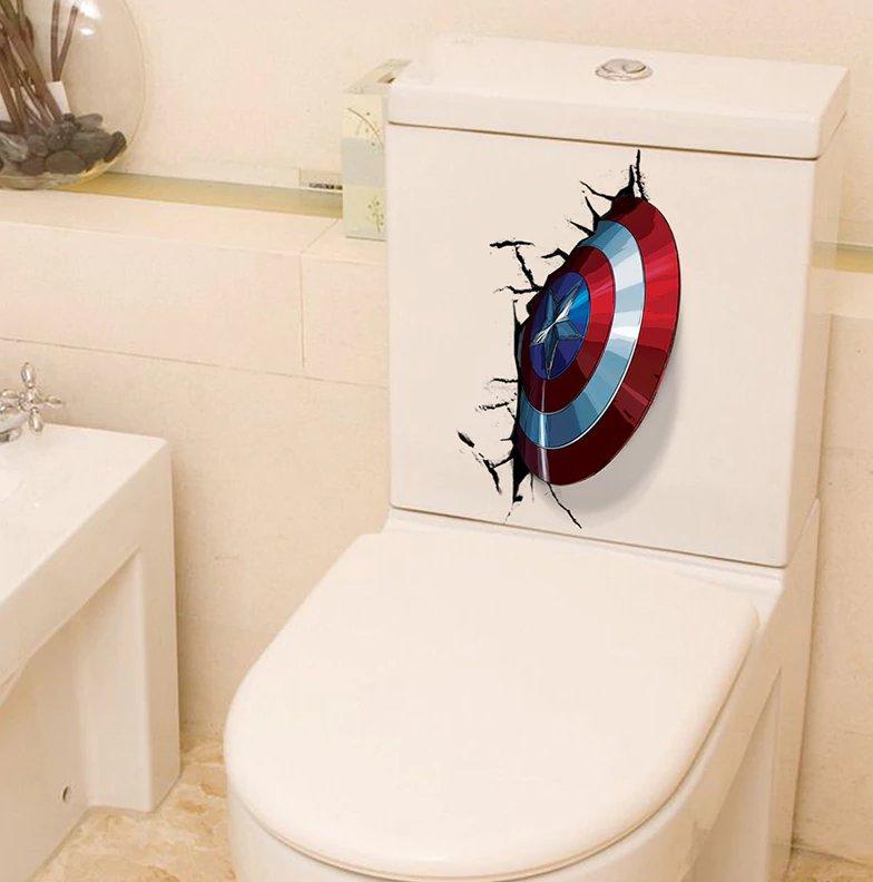 The Avengers 3D Stickers Captain America Shield Through Toilet Decor